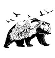 double exposure bear and polar pole and glaciers vector image vector image