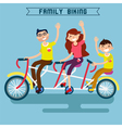 Family Biking Family Riding Triple Tandem Bicycle vector image vector image