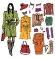 Fashion girl and street clothing setColored vector image vector image