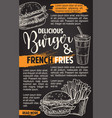 fast food burgers menu sketch poster vector image vector image