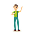 flat young man eating pizza slice vector image vector image