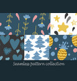 floral seamless background set vector image