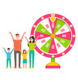 fortune wheel roulette machine family vector image vector image