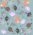 Funny pattern with animals berries and mushrooms vector image vector image