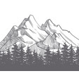 hand drawn nature landscape with mountains and vector image vector image