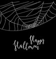 happy halloween banner with spider cobweb vector image