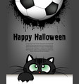 happy halloween cat and soccer ball vector image