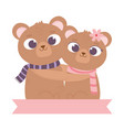happy valentines day cute couple bear hugging vector image
