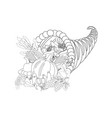 horn of planty harvest coloring page vector image