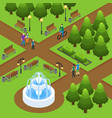 isometric summer park concept vector image vector image