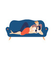 lovely boy and girl lying on cozy couch and vector image vector image