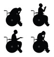 man in wheelchairs silhouette vector image vector image