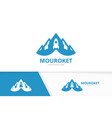 mountain and rocket logo combination vector image