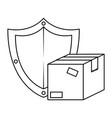 packing box carton with shield vector image vector image