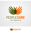 people care logo with hands vector image vector image
