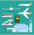 plane airport transport symbols flat design vector image vector image