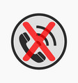 prohibiting the use of a mobile phone sign vector image
