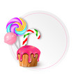 round with candies sweets and vector image vector image