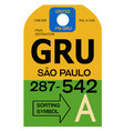 sao paulo airport luggage tag vector image vector image