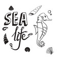 sea life concept seahorse with shell hand drawn vector image vector image