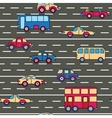 seamless pattern with cars and buses vector image vector image