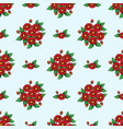 seamless red flowers wallpaper vector image