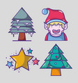 set merry chrstmas decoration design vector image vector image
