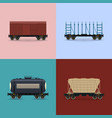 set of freight rail wagons vector image vector image
