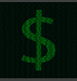 silhouette of dollar symbol from binary digits vector image vector image