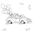 two funny bears on toy car black line on whi vector image