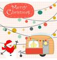 vintage cute merry christmas van cartoon vector image vector image