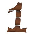 Wood Numbers 1 isolated on the white vector image