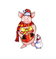 xmas pig watercolor vector image vector image