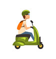 young man in green helmet riding scooter vector image vector image