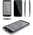 Black Smart Phone 3D and Conventional Views vector image