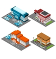 Supermarket stores buildings isometric icons set vector image