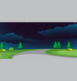 a nature road at night background vector image vector image