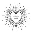 beautiful ornamental heart with crown and roses in vector image vector image