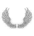 black and white hand-drawn wings vector image