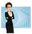 Business woman is wearing black suit on blue vector image vector image
