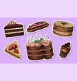 cakes and cream tarts stickers fruit desserts vector image vector image