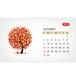 calendar 2012 december Art tree design vector image vector image