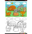 cartoon funny cats group coloring book page vector image vector image