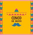 cinco de mayo mexican mariachi sombrero quote card vector image