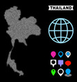 dotted halftone thailand map vector image vector image