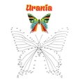 Educational game connect dots to draw butterfly vector image