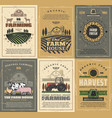 farm animals field tractor and barn agriculture vector image vector image