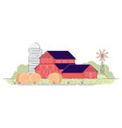 farm barns with hay bales flat village farmland vector image