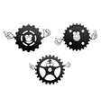 Gear wheels with funny faces and hands vector image vector image