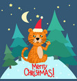greeting card with tiger wearing skates vector image vector image